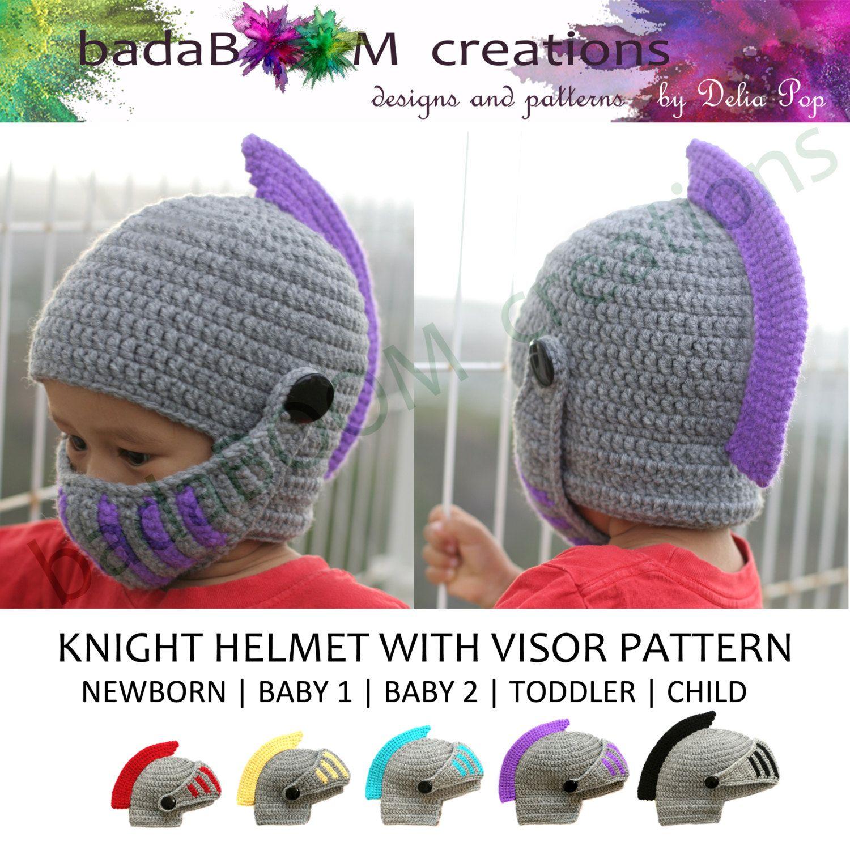 Pdf Crochet PATTERN Children Knight Hat RolePlay Crocheted Knight ...