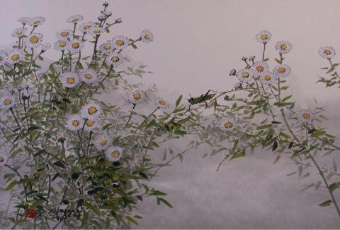 (Korea) Chrythethum by Kim Chung Sik (1954~   ). color on paper. Korean painting.