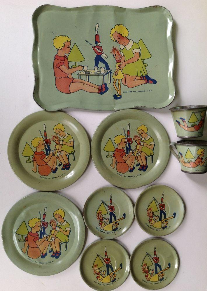 """Vintage 1935 Ohio Art tinlitho toy tea set """"Tea Time With"""