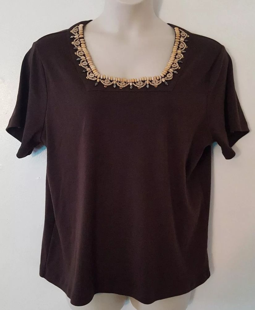 16968fd7dce Rebecca Malone Women s Solid Brown Beaded Short Sleeve Top Blouse Plus Size  2X  fashion