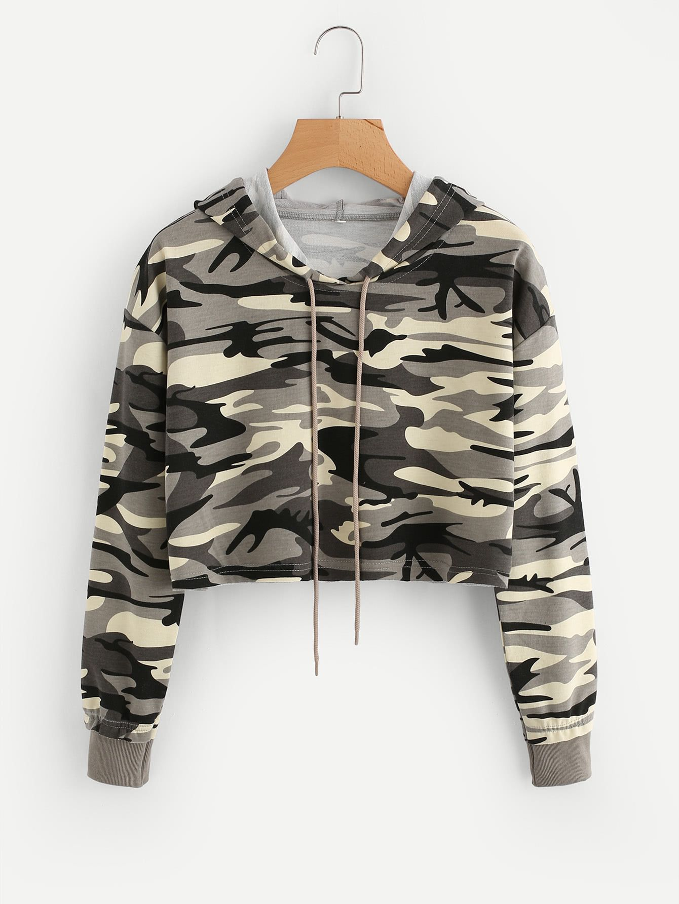 Shop Drop Shoulder Crop Camo Hoodie online. SheIn offers Drop Shoulder Crop  Camo Hoodie   more to fit your fashionable needs. 095f4d3f177