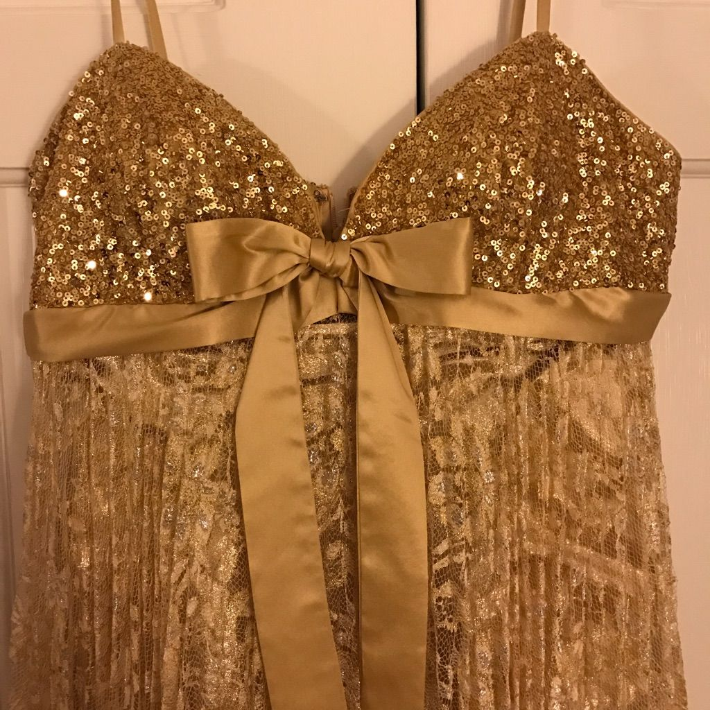 Jovani gold sequin bow lace dress products
