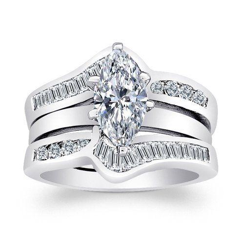 limoges jewelry 4 carat marquise cz chevron 2 pc wedding ring jacket set limoges - Wedding Ring Jackets