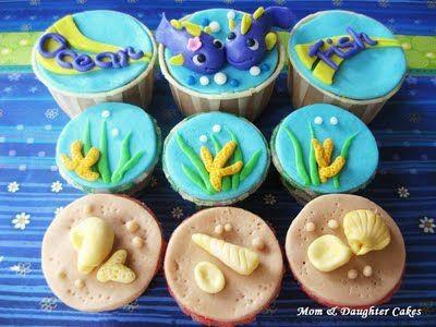 Cute Ocean Fish Cupcakes With Images Ocean Cupcakes Fishing