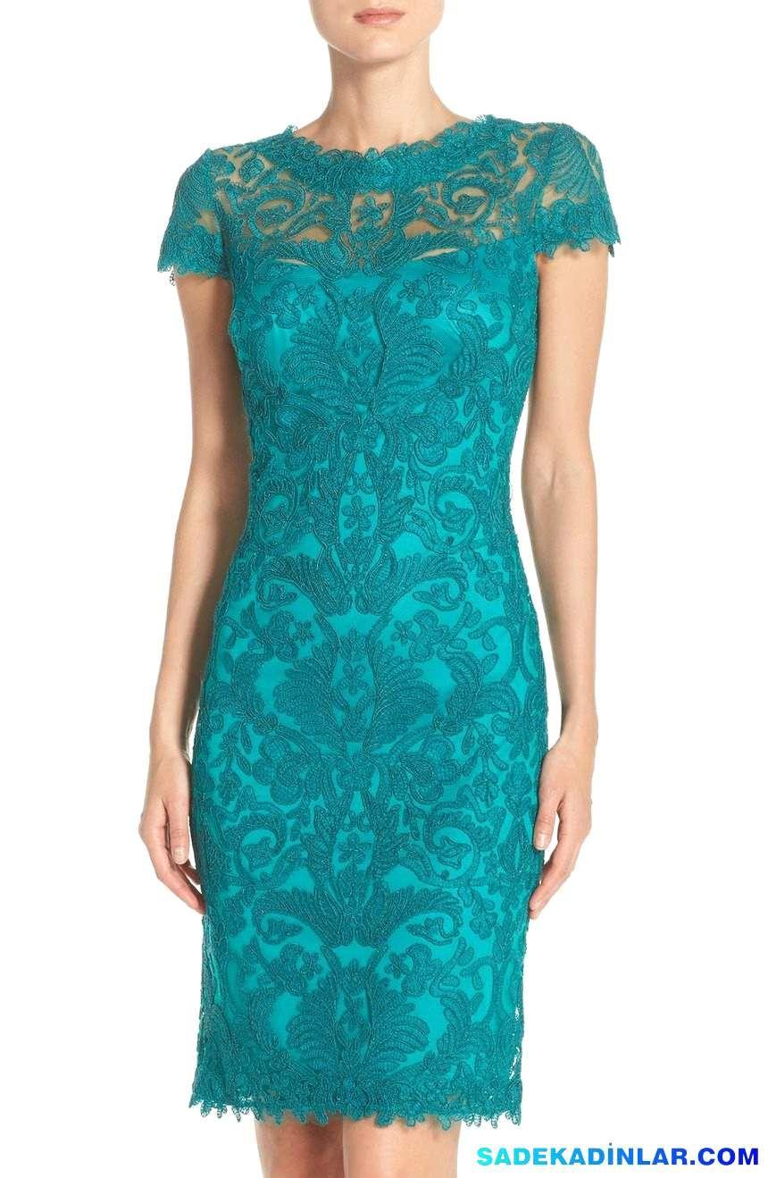 En Dikkat Çeken 2020 Abiye Modelleri ve Gece Elbiseleri – Illusion-Yoke-Lace-Sheath-Dress-Regular-Petite