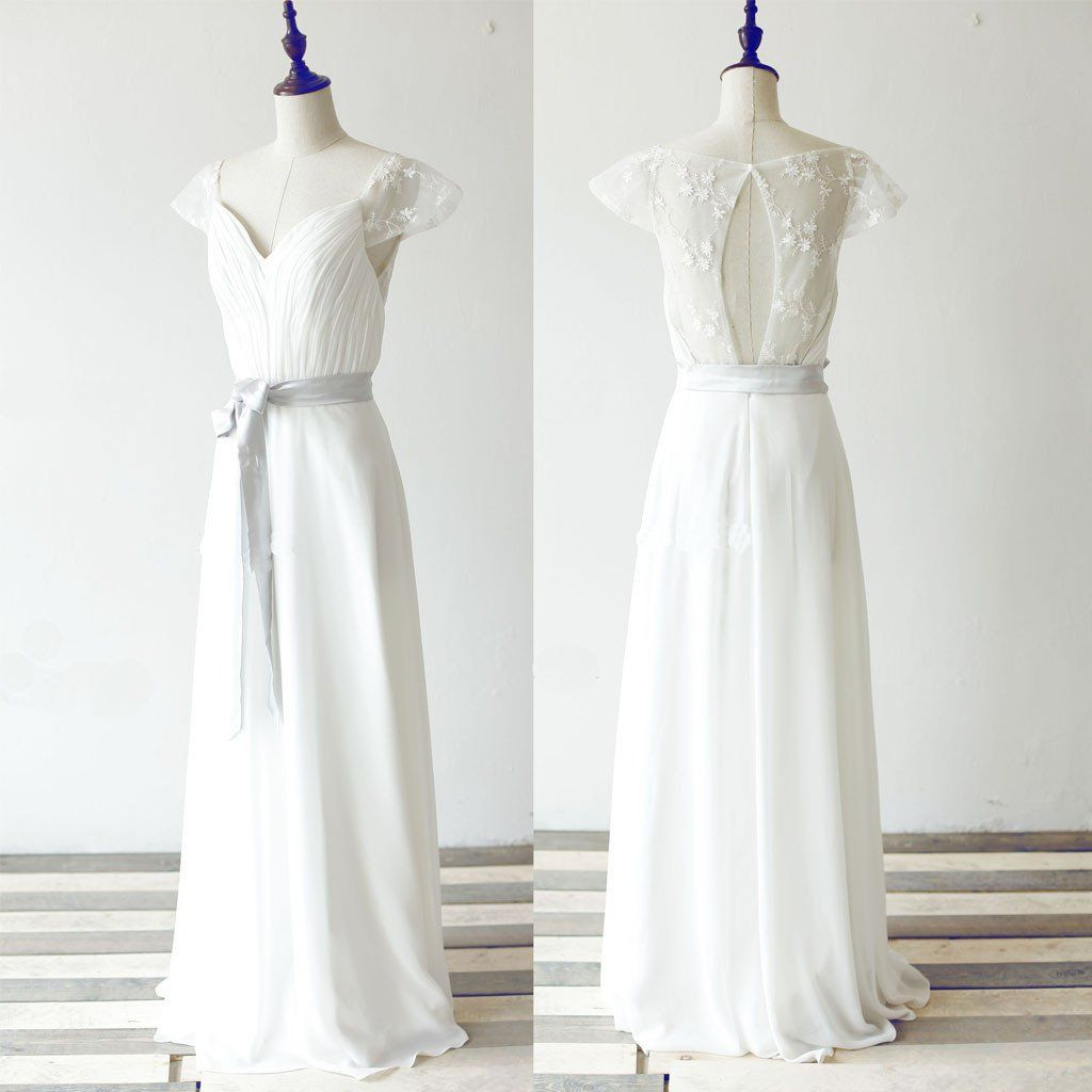 Simple long aline white chiffon wedding party dresses cap sleeve