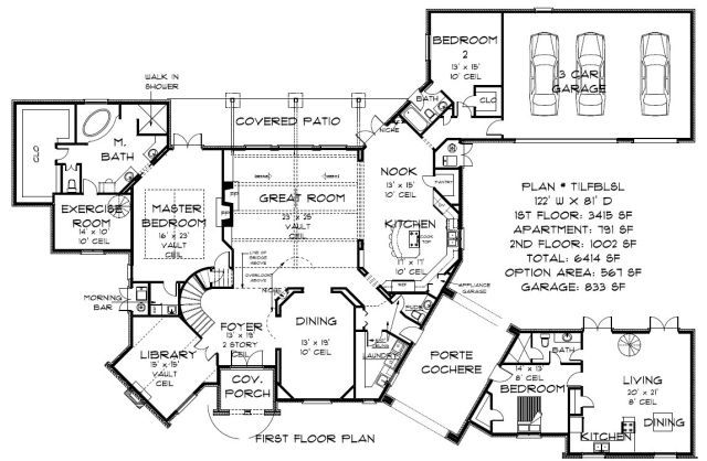 Plan tilfblsl 5000 and above sq ft plans oklahoma for House plans over 5000 square feet