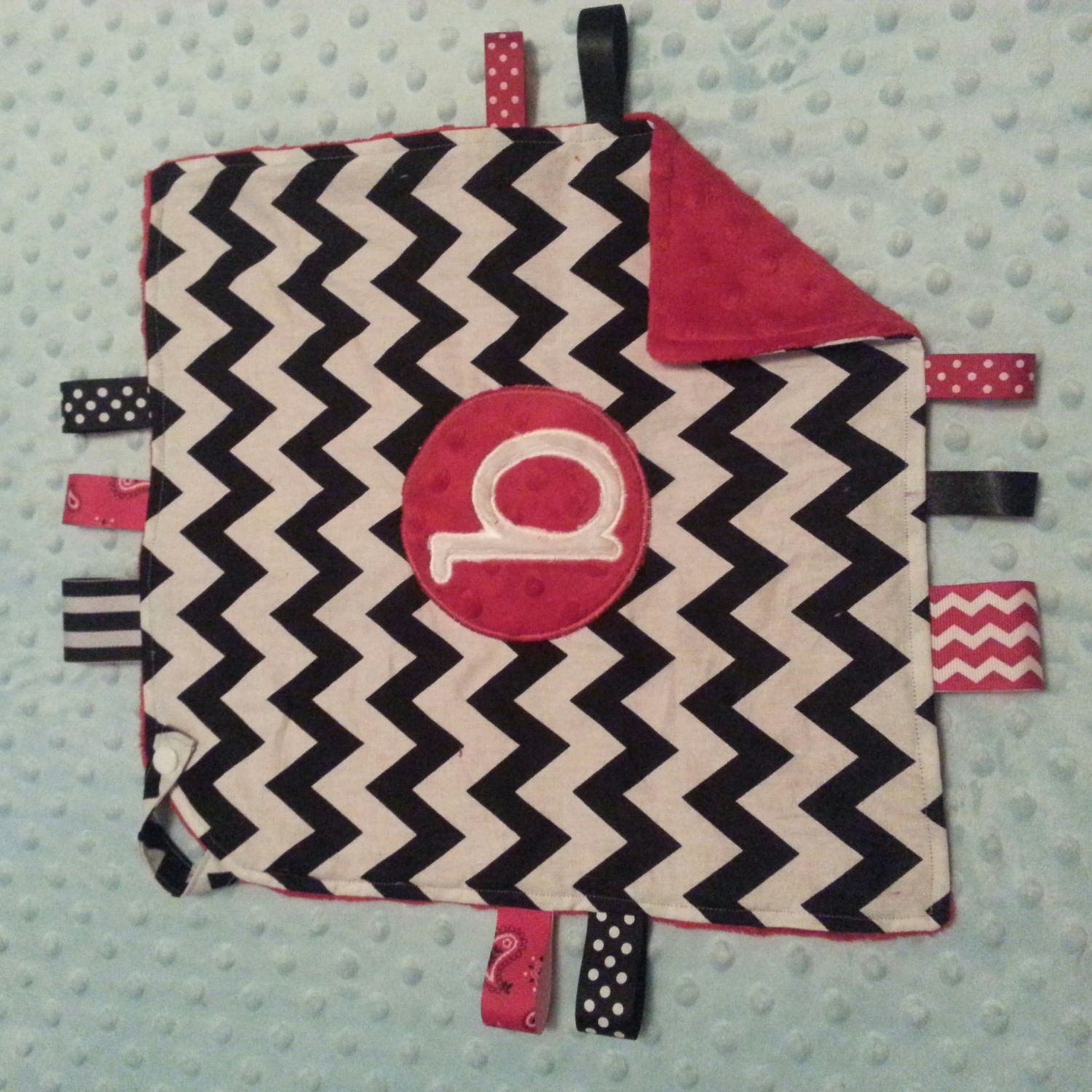Personalized lovey with snap strap tags and by besewsweet on Etsy, $12.00