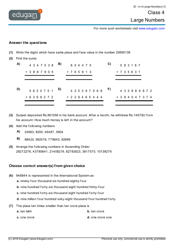 Grade 4 Large Numbers Worksheets Math Worksheets Math Worksheets