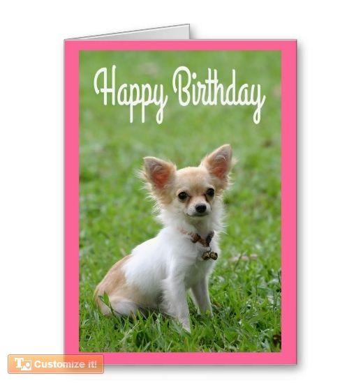 Happy Birthday Chihuahua Puppy Pink Greeting Card Zazzle Com