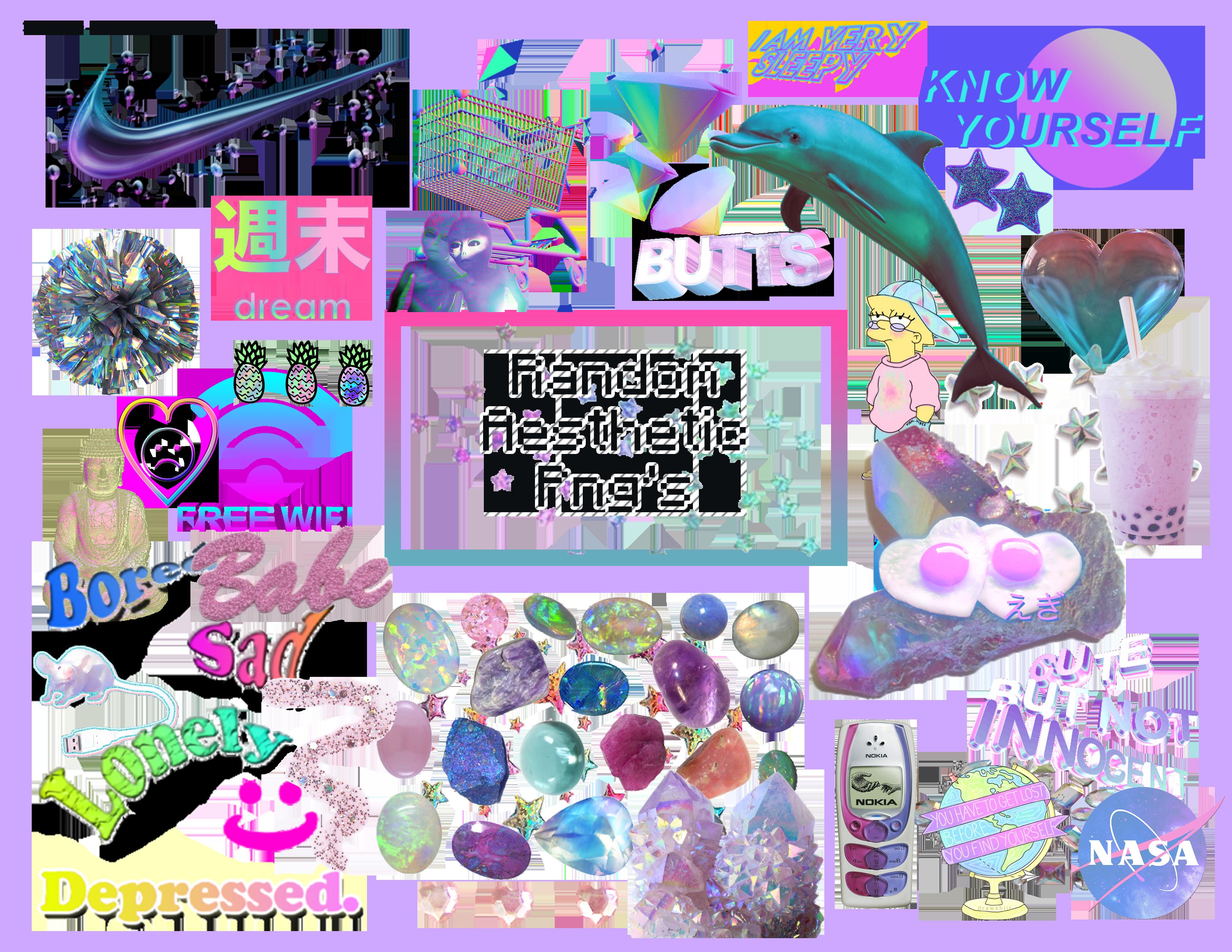 21 Free Aesthetic Png Packs Png Vaporwave Branding Mood Board