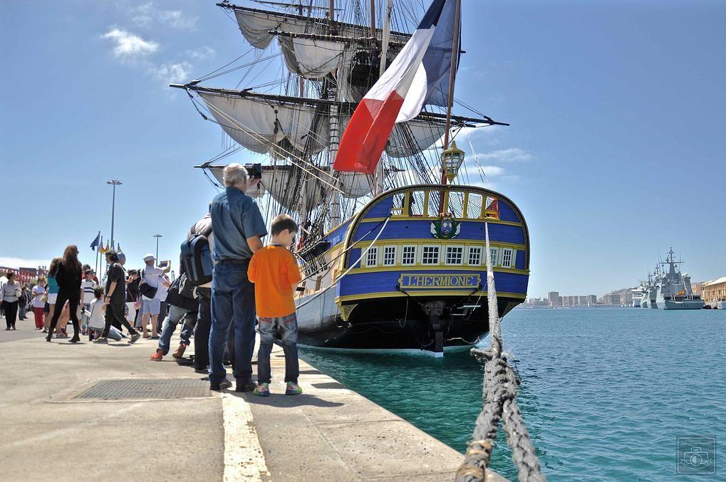 Las Palmas de Gran Canaria ha sido la única escala de la fragata Hermione, en su primer viaje hacia los Estados Unidos. © Fernando Padrón