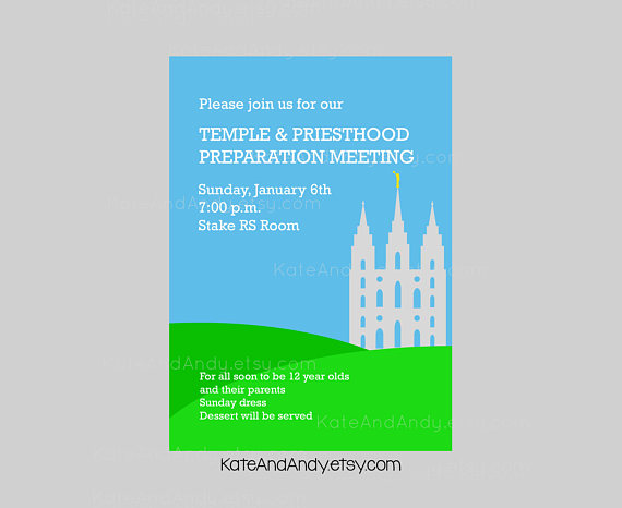 Temple \ Priesthood Preparation Meeting- Path to the Temple - fresh invitation meeting