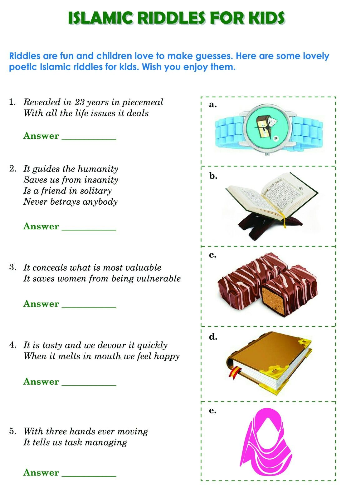 Free printable Islamic Riddles for kids Riddles