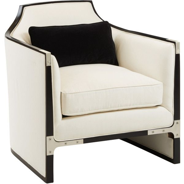 Octavio Modern Black Tuxedo Trim Ivory Chair (2 510 AUD) ❤ Liked On Polyvore