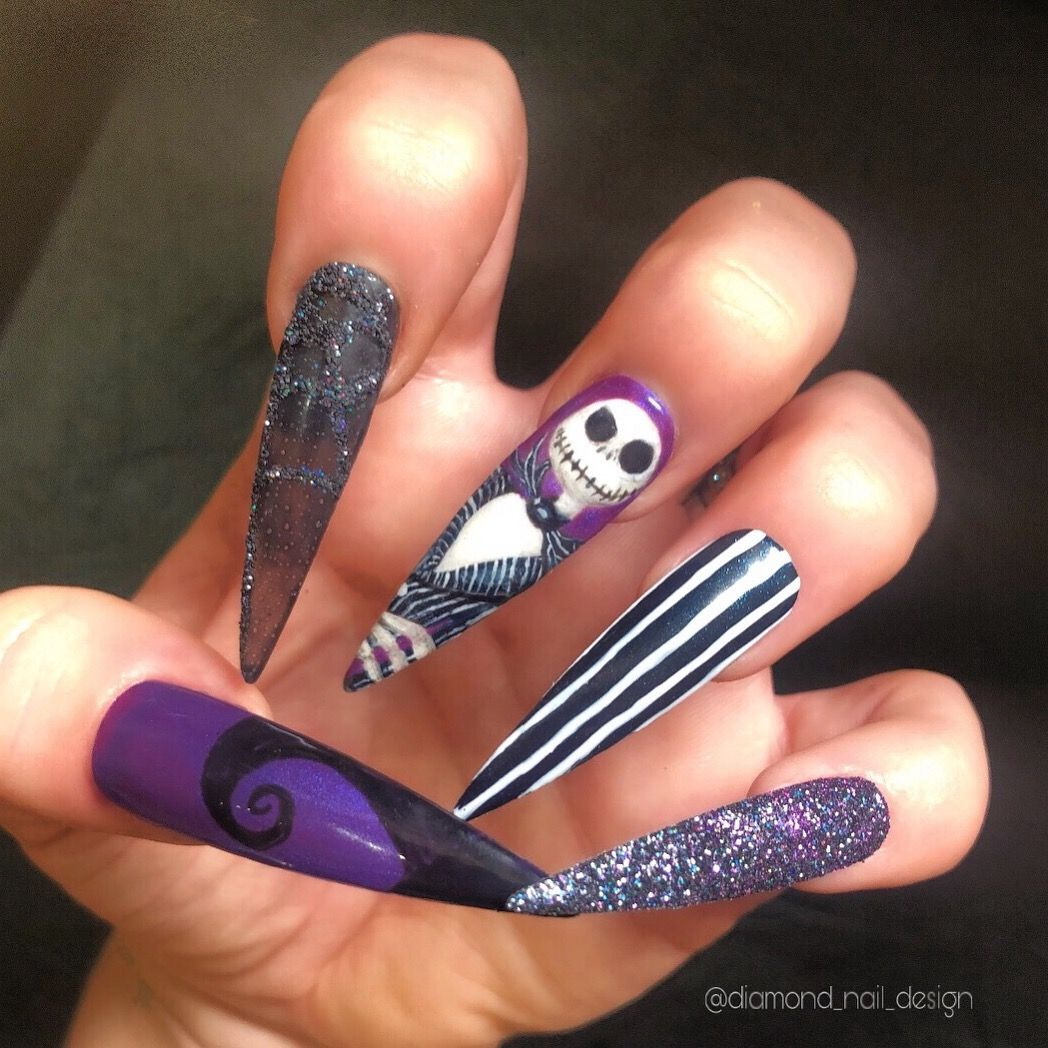 Hand painted Jack Skellington nail extentions. Inspiration ...
