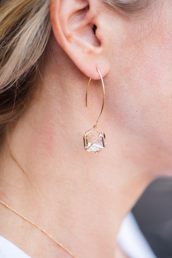 Geometric Caged Prism Drop Earring Gold Dangle Earring Etsy Gold Earrings Dangle Drop Earrings Etsy Earrings Dangle
