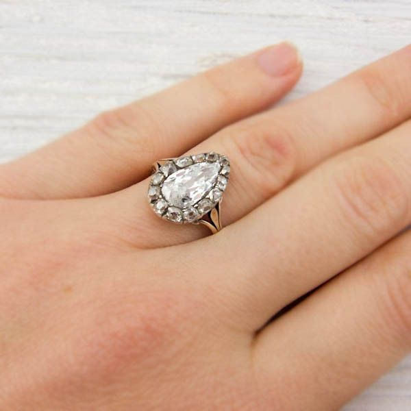 1 42 Carat Pear Shaped Diamond Antique Engagement Ring