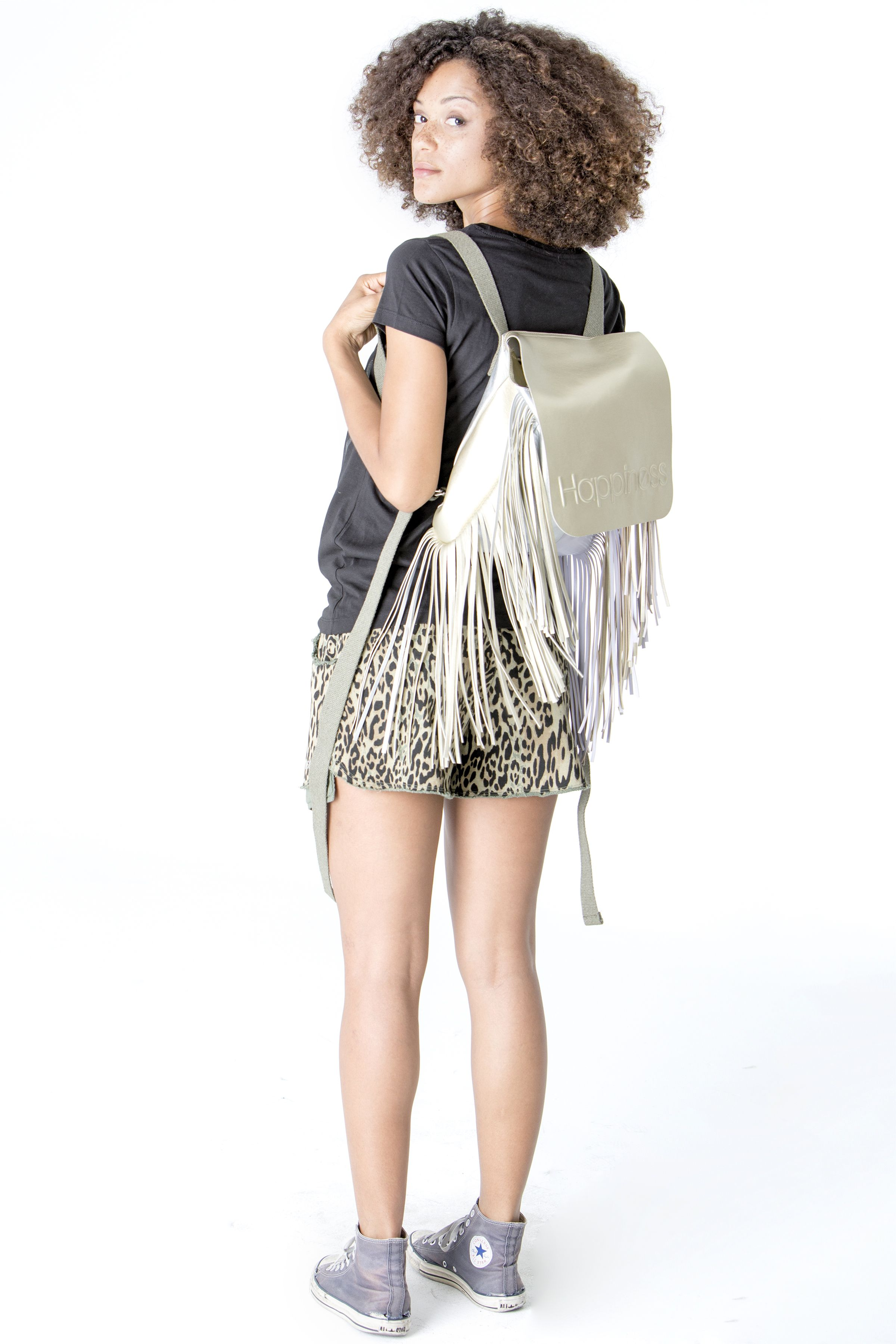 Get this look here! Top: http://www.shophappiness.com/t-shirt-donna-glitter-happiness-logo.html Shorts: http://www.shophappiness.com/pantaloncini-leo-mility.html Backpacks: http://www.shophappiness.com/zaino-happiness-frange-oro.html