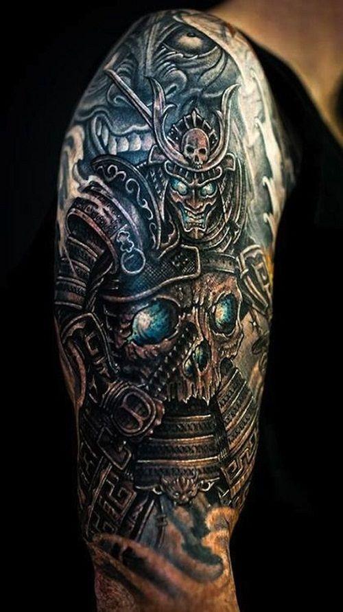 Samurai And Skull Tattoo Samurai Tattoo Design Cool Half Sleeve Tattoos Tattoo Designs Men
