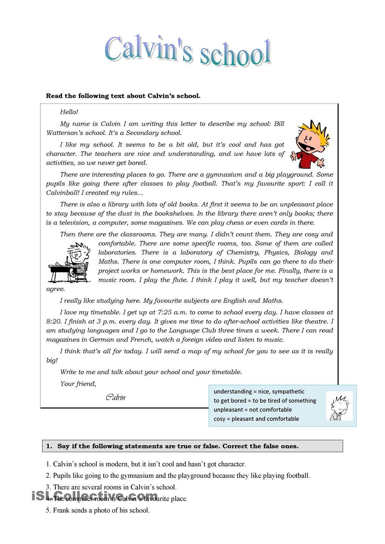 - Calvin's School Reading Comprehension Worksheets, Reading