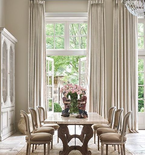 French Country Dining Room With Beautiful Linen Curtains Tall Adorable Dining Room Window Treatments Inspiration