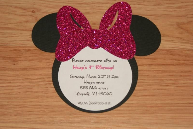 Sparkly cut bows for minnie mouse invites Gifts and Parties on a