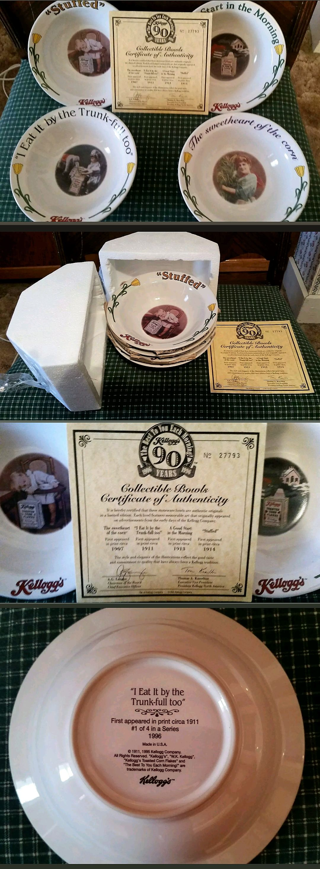 1996 Kellogg 90th Anniversary Special Edition Cereal Bowls With