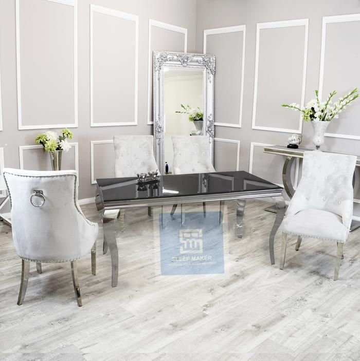 1.6m   Black Glass   Louis Dining Set   Duke Chairs - 4 chairs / dark Grey
