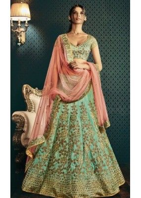 Bridal Wear Sea Green & Peach Bhagalpuri  Lehenga Choli - 5061