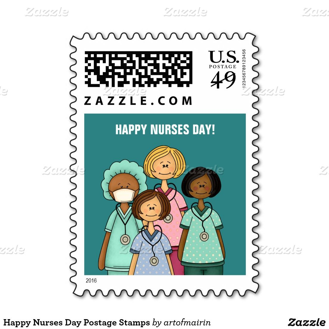 Happy Nurses Day Postage Stamps. Matching Cards in various languages , postage stamps and other products available in the Business Related Holidays / Healthcare Category of the artofmairin store at zazzle.com