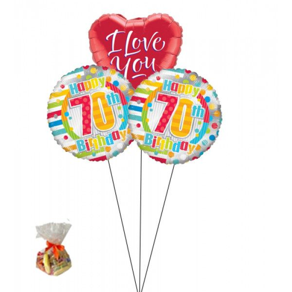 Happy 70th Birthday Sweet Balloon With I Love You BalloonBunch Of Three