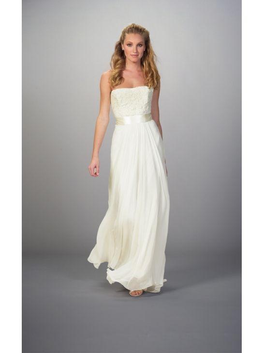 Silk Chiffon Strapless Column Wedding Dress With Fabulous Sash LW4832