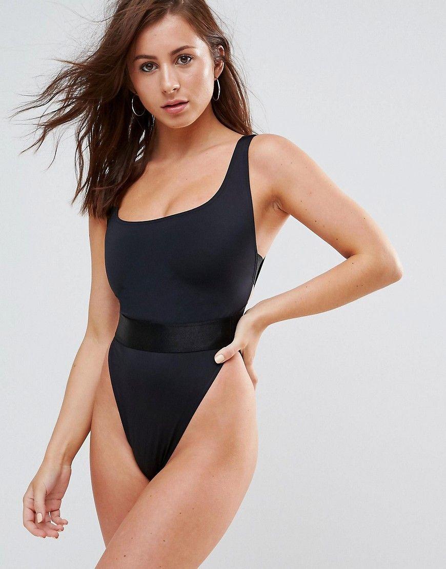 a91af3b7f2615 ASOS FULLER BUST High Leg Elastic Waist Swimsuit DD-G - Black ...