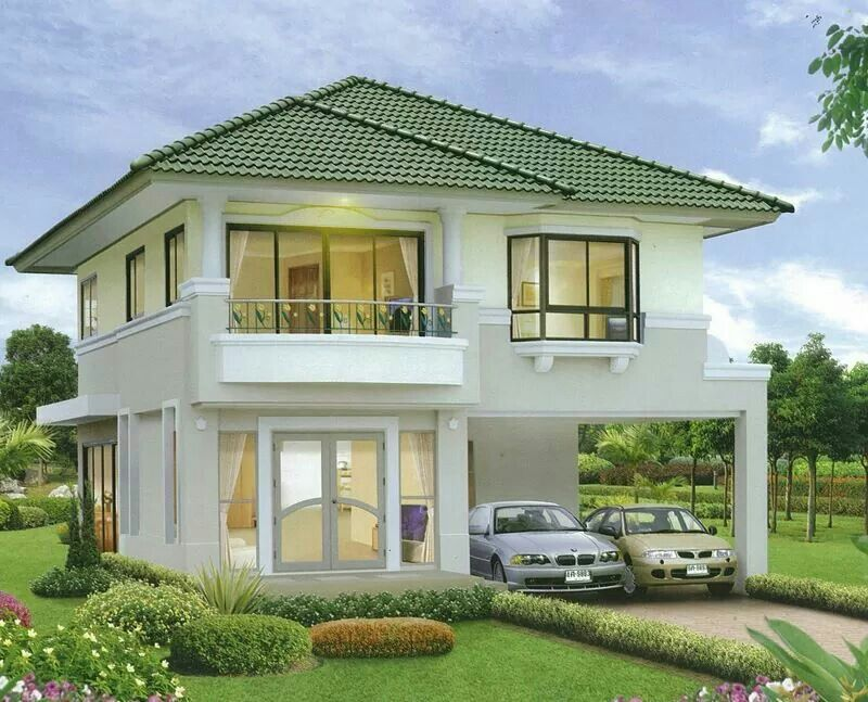 Cozy And Light Green Two Story House Design House Styles