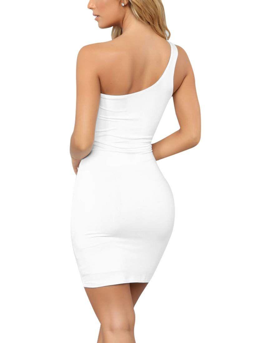 Boriflors Women S Casual Basic One Shoulder Tank Top Bodycon Mini Club Dress Club Dresses Casual Women Mini Club Dresses [ 1100 x 846 Pixel ]