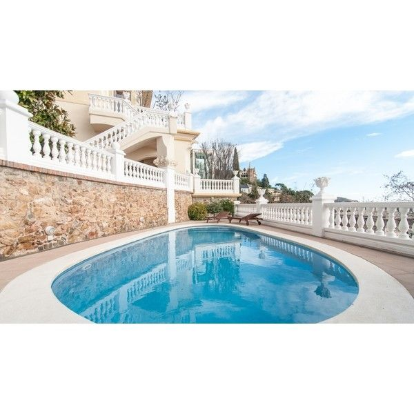 Incredible modernist mansion in Barcelona city. LuxuryRealEstate.com ❤ liked on Polyvore