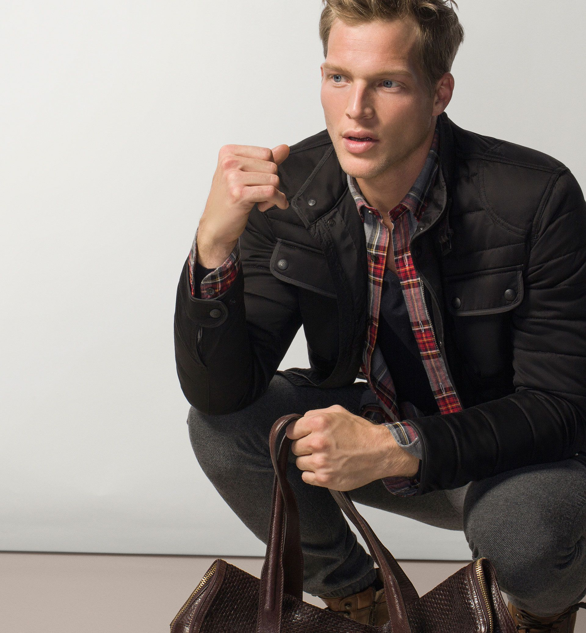 QUILTED JACKET WITH FABRIC EXTERIOR - MASSIMO DUTTI -