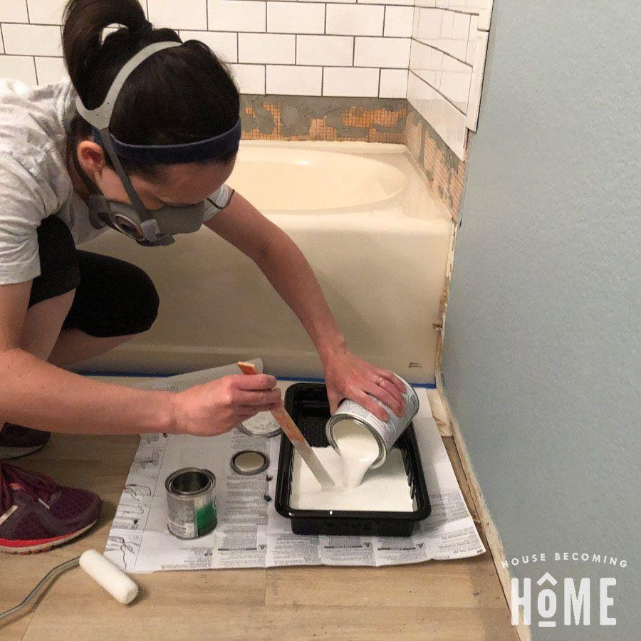 How To Paint A Bathtub With Images Diy Bathtub Tub Refinishing Bathtub Makeover