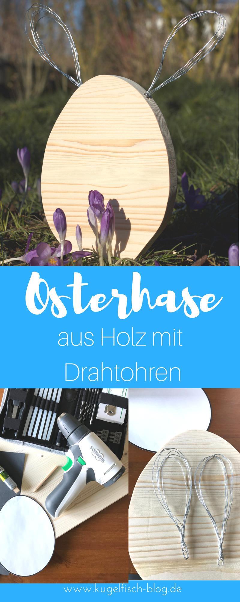 DIY: Osterhase aus Holz mit Drahtohren -   24 diy basteln holz ideas