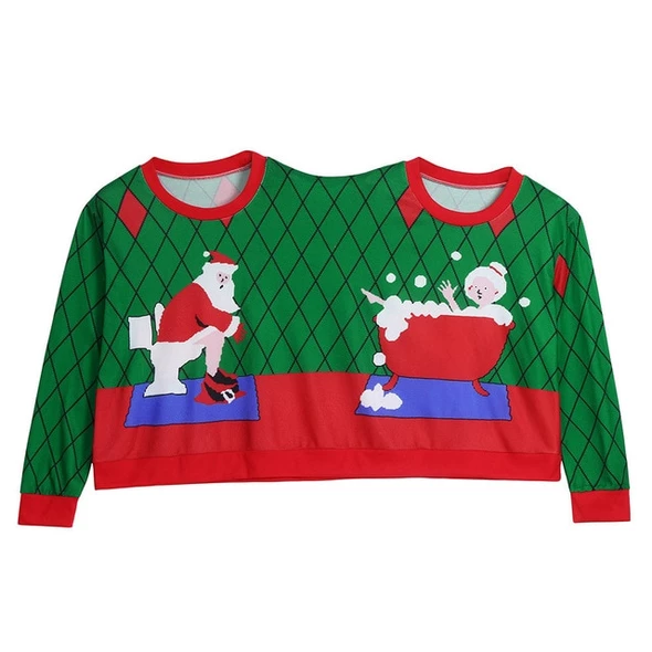 Perman Two Person Couples Unisex Christmas Novelty Pullover Sweater Printing Blouse T-Shirt