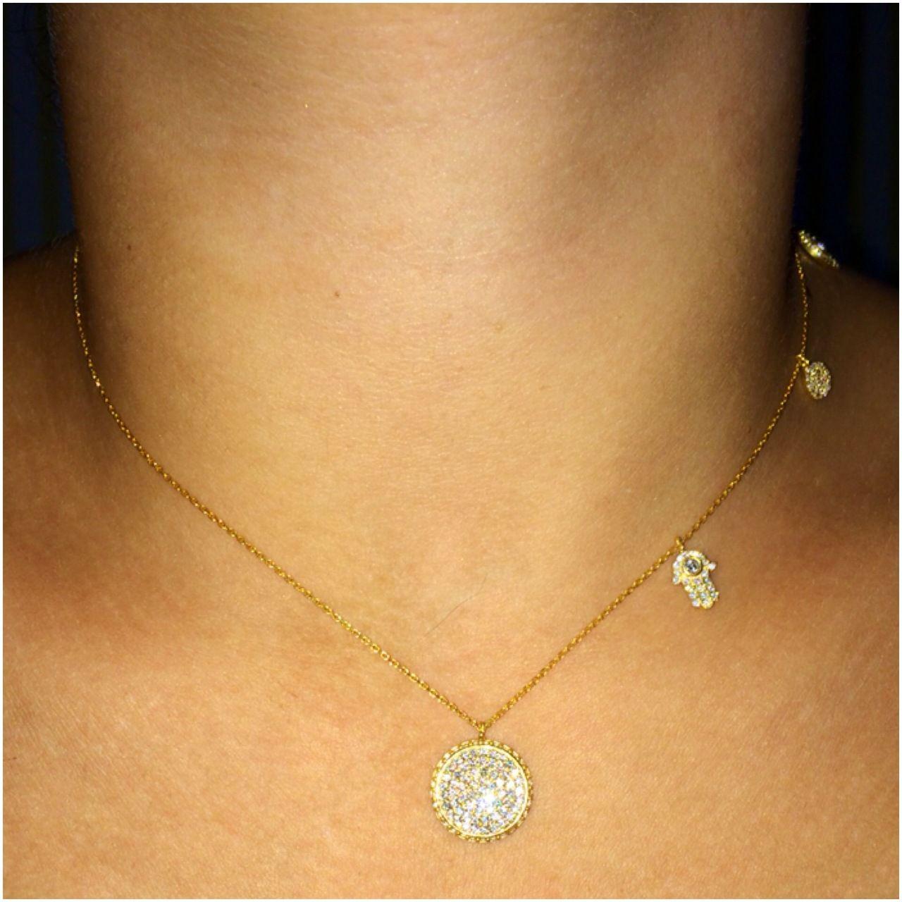 NEC Sterling Silver Evil Eye /& Hamsa Charm Necklace