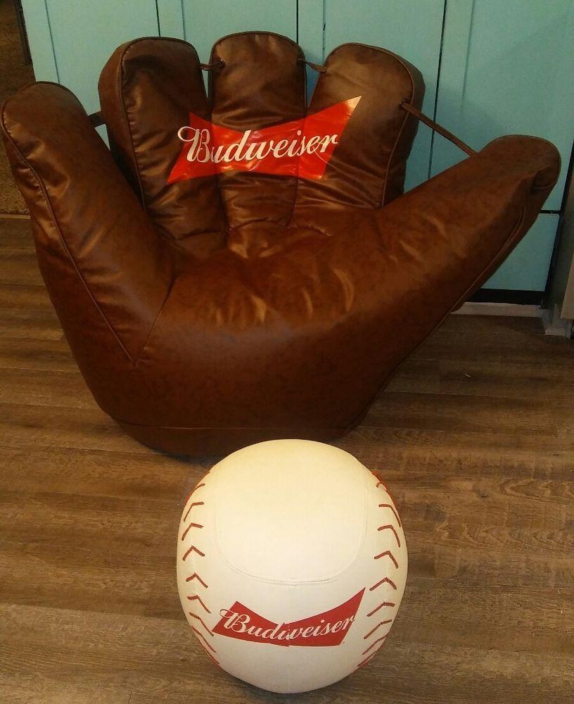 Etonnant Budweiser Baseball Glove Bean Bag Chair With Base Ball Ottoman Man Cave NEW  #Budweiser