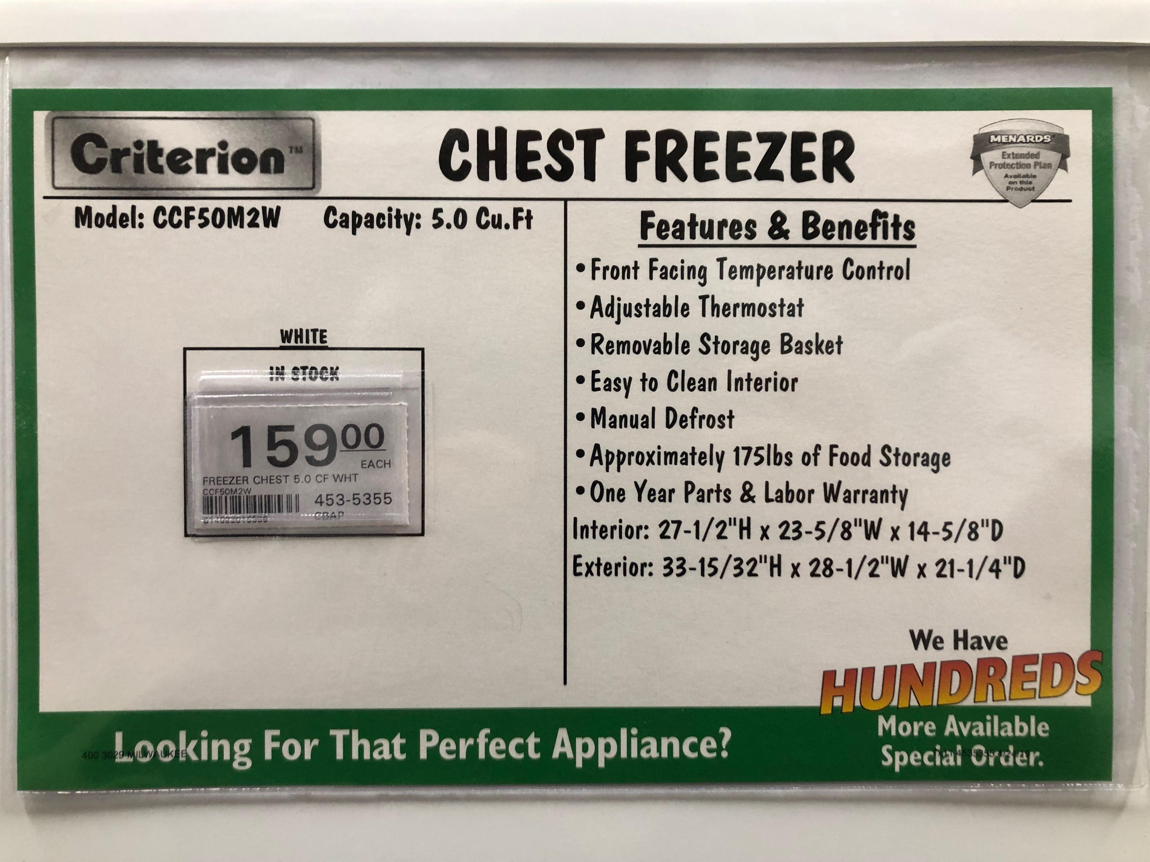 5 Cubic Foot Chest Freezer Chest Freezer Menards Storage Baskets