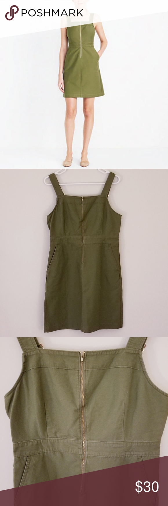 Hp Nwt J Crew Factory Olive Green Overall Dress In 2020 Year Round Dresses Overall Dress Clothes Design [ 1740 x 580 Pixel ]