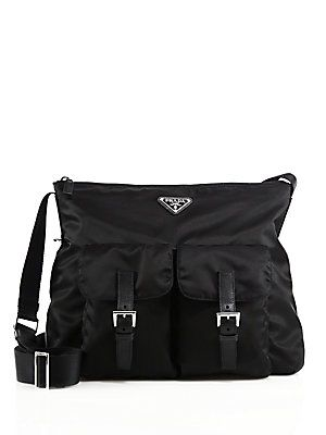 9ba914801c79 Prada Nylon   Leather Zip Messenger Bag - Black - Size No Size ...