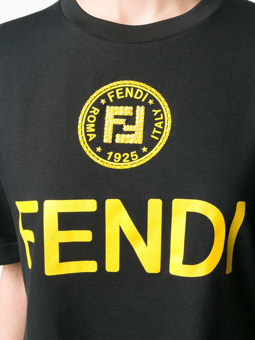 Fendi embellished FF logo Tshirt Tshirt logo, Fendi, T