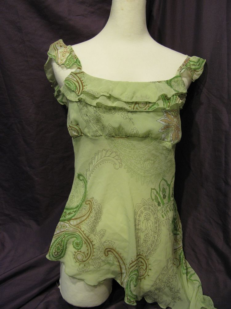 Green Fairy Shirt with Ruffles on the Sleeves Made in USA Medium  #TankCami #EveningOccasion