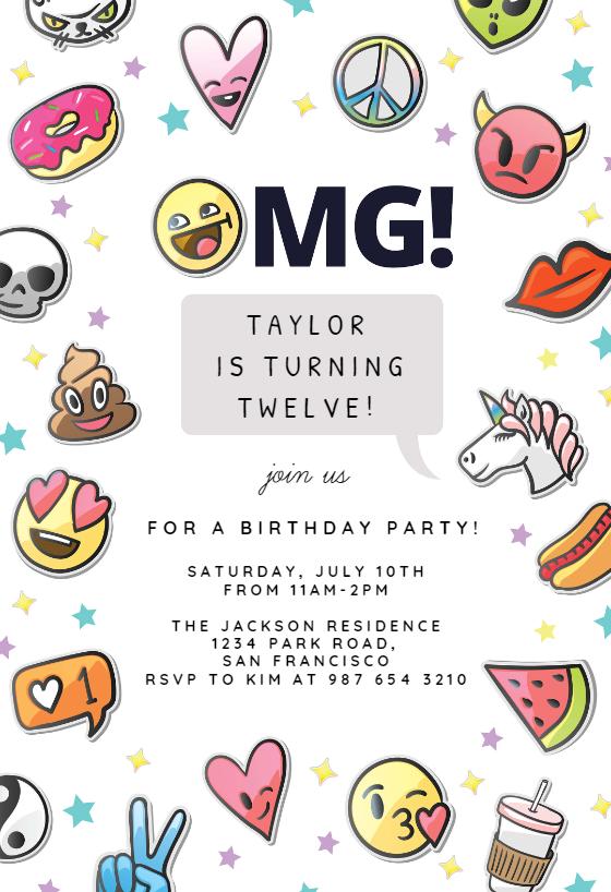 Fun Emojis - Birthday Invitation Template (free | Birthday ...