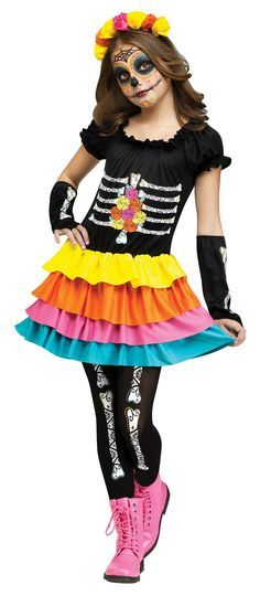 Day of the Dead Girl\u0027s Costume Costumes, Halloween costumes and - halloween dance ideas